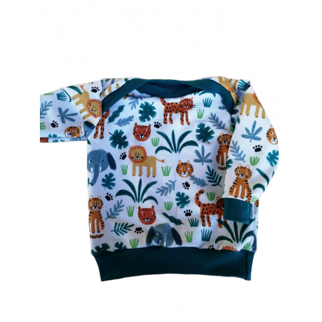 Delphine en aiguille - sweat bébé jungle